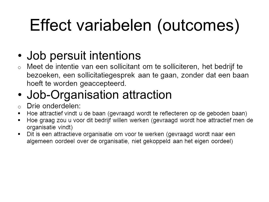 Effect variabelen (outcomes)