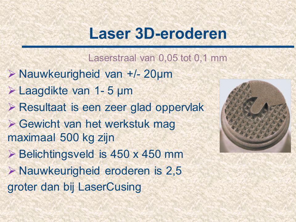 Laser 3D-eroderen Nauwkeurigheid van +/- 20µm Laagdikte van 1- 5 µm