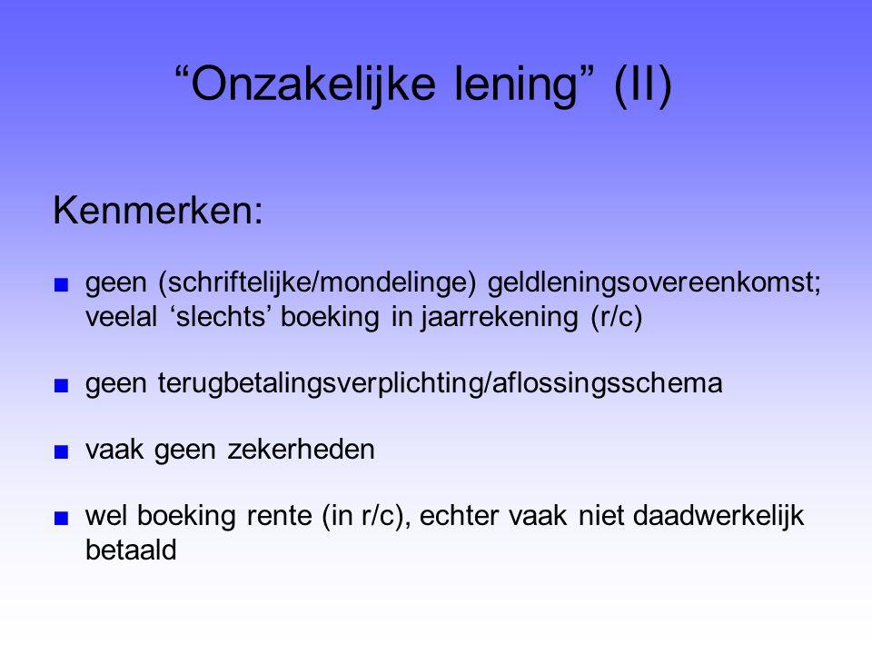 Onzakelijke lening (II)