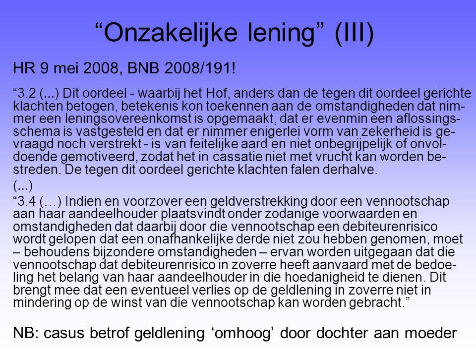 Onzakelijke lening (III)