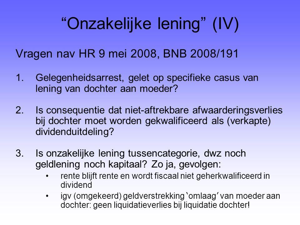 Onzakelijke lening (IV)