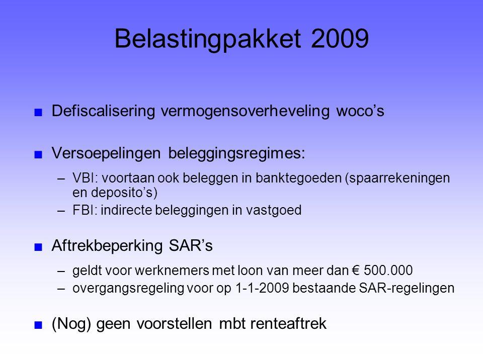 Belastingpakket 2009 Defiscalisering vermogensoverheveling woco's