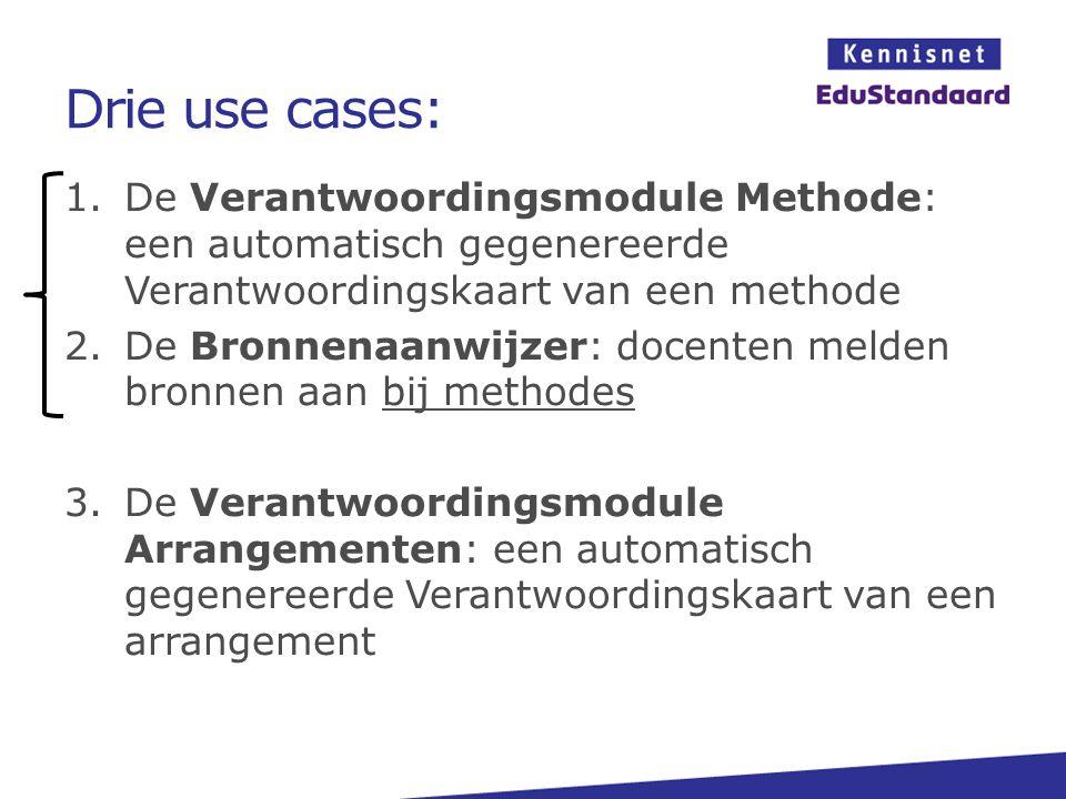 Drie use cases: De Verantwoordingsmodule Methode: een automatisch gegenereerde Verantwoordingskaart van een methode.