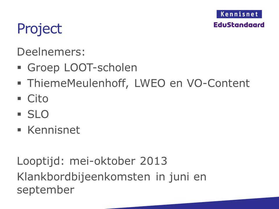 Project Deelnemers: Groep LOOT-scholen