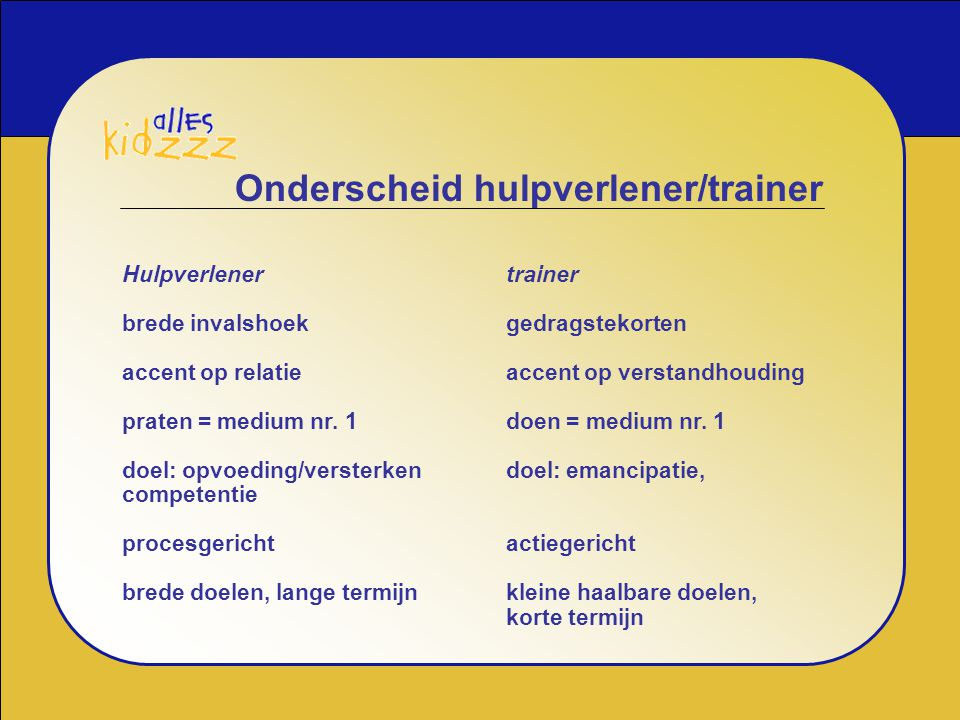 Onderscheid hulpverlener/trainer