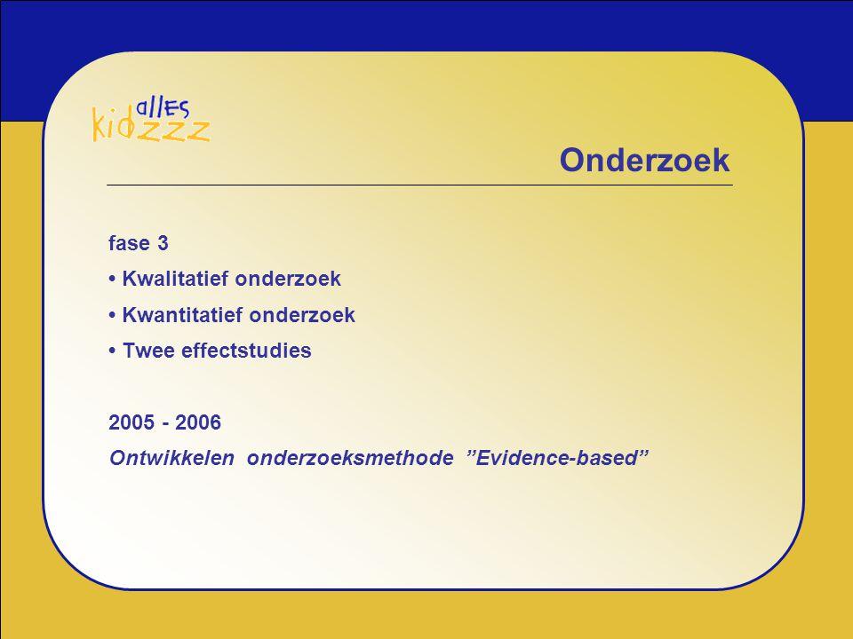 fase 3 • Kwalitatief onderzoek • Kwantitatief onderzoek • Twee effectstudies 2005 - 2006 Ontwikkelen onderzoeksmethode Evidence-based