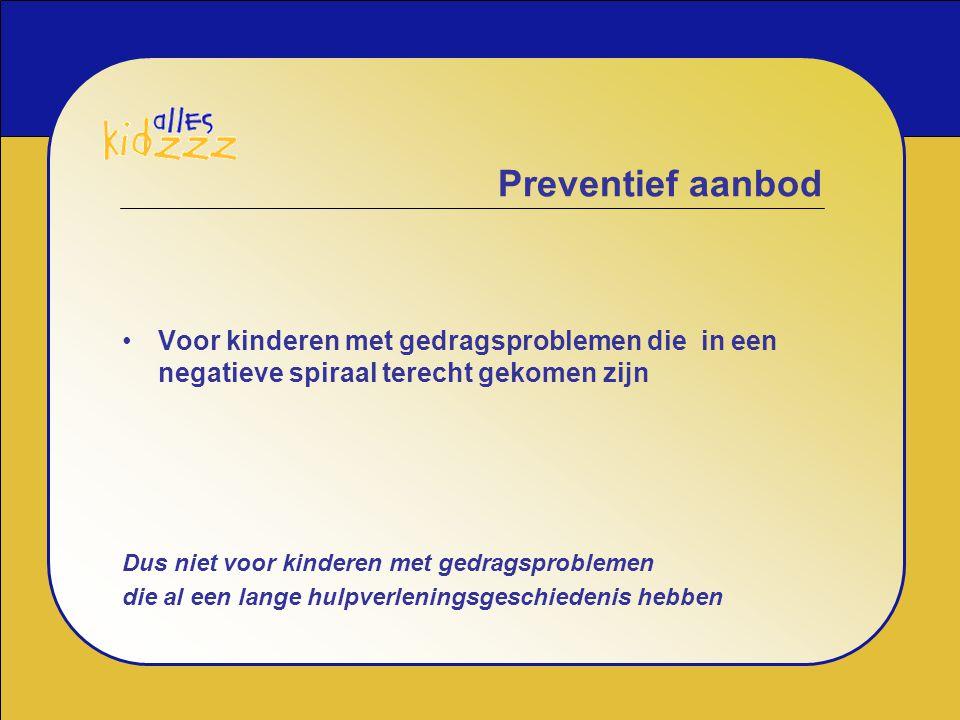 Preventief aanbod Voor kinderen met gedragsproblemen die in een negatieve spiraal terecht gekomen zijn.