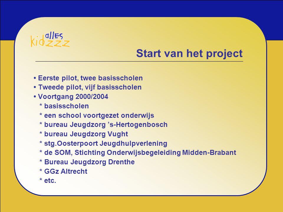 Start van het project • Eerste pilot, twee basisscholen