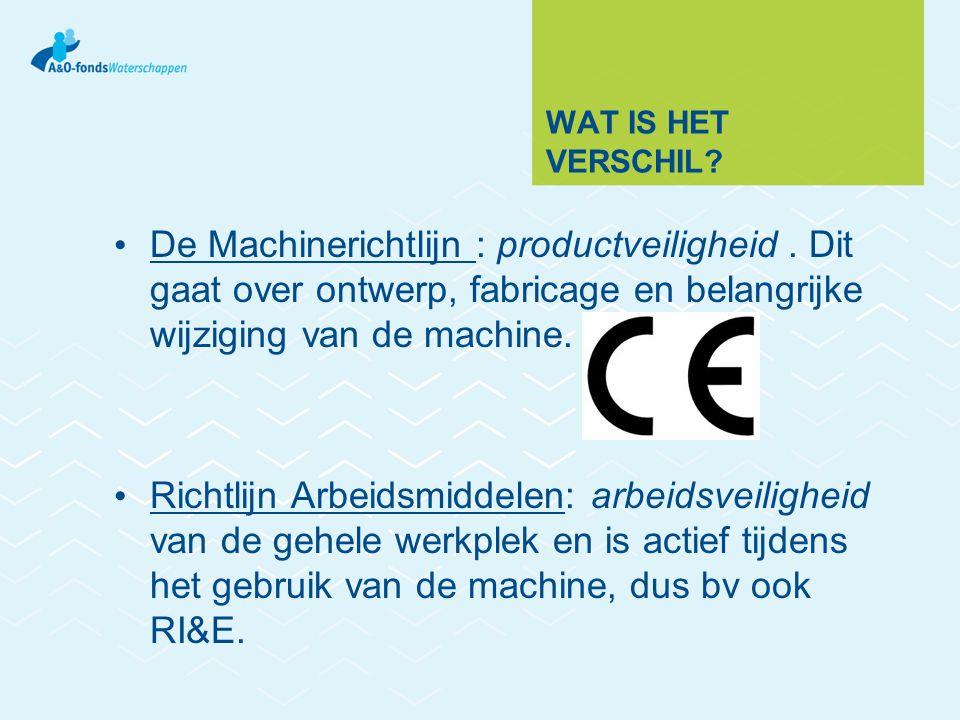wat is het verschil De Machinerichtlijn : productveiligheid . Dit gaat over ontwerp, fabricage en belangrijke wijziging van de machine.