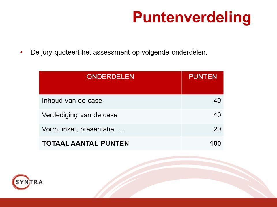 Puntenverdeling De jury quoteert het assessment op volgende onderdelen. ONDERDELEN. PUNTEN. Inhoud van de case.