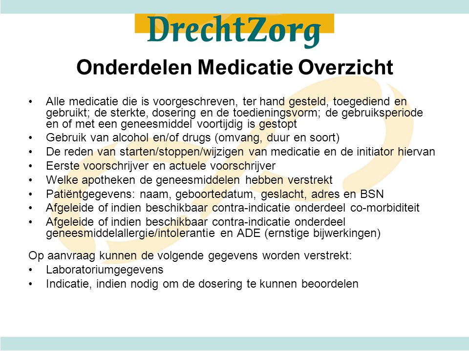 Onderdelen Medicatie Overzicht