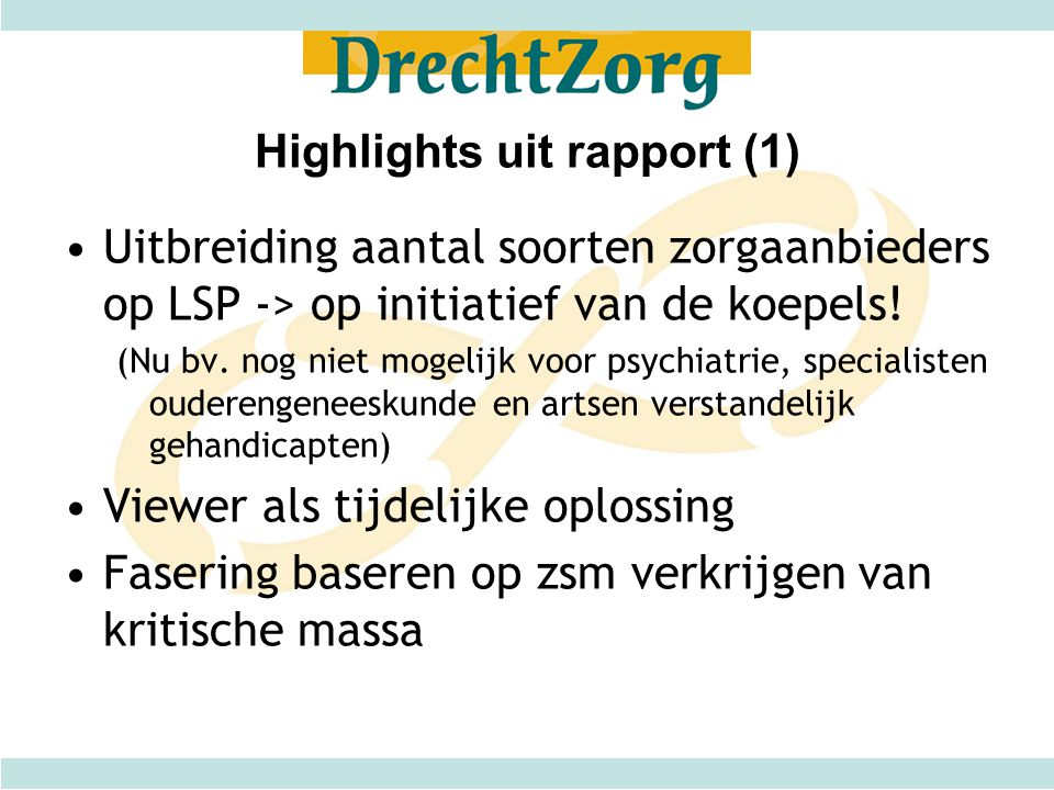 Highlights uit rapport (1)