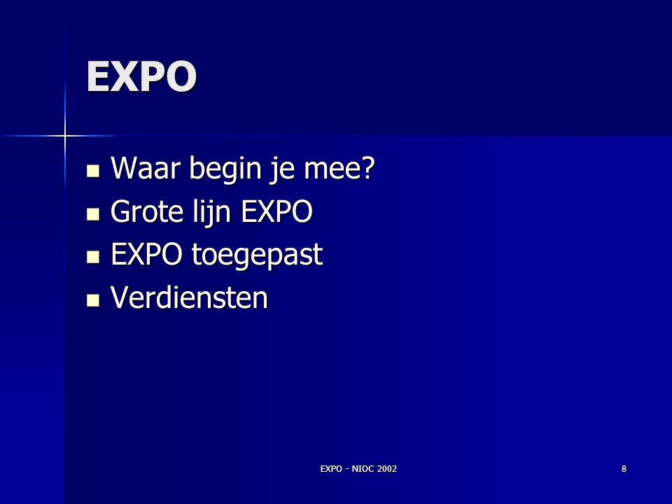 EXPO Waar begin je mee Grote lijn EXPO EXPO toegepast Verdiensten