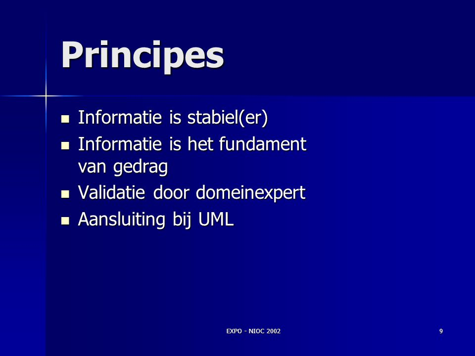 Principes Informatie is stabiel(er)