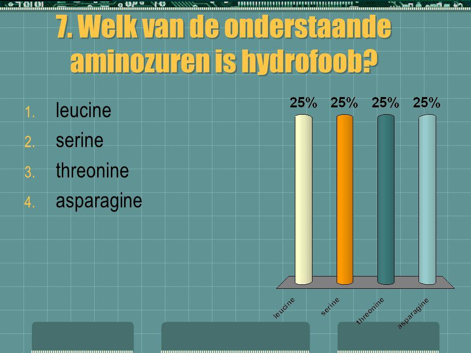 7. Welk van de onderstaande aminozuren is hydrofoob