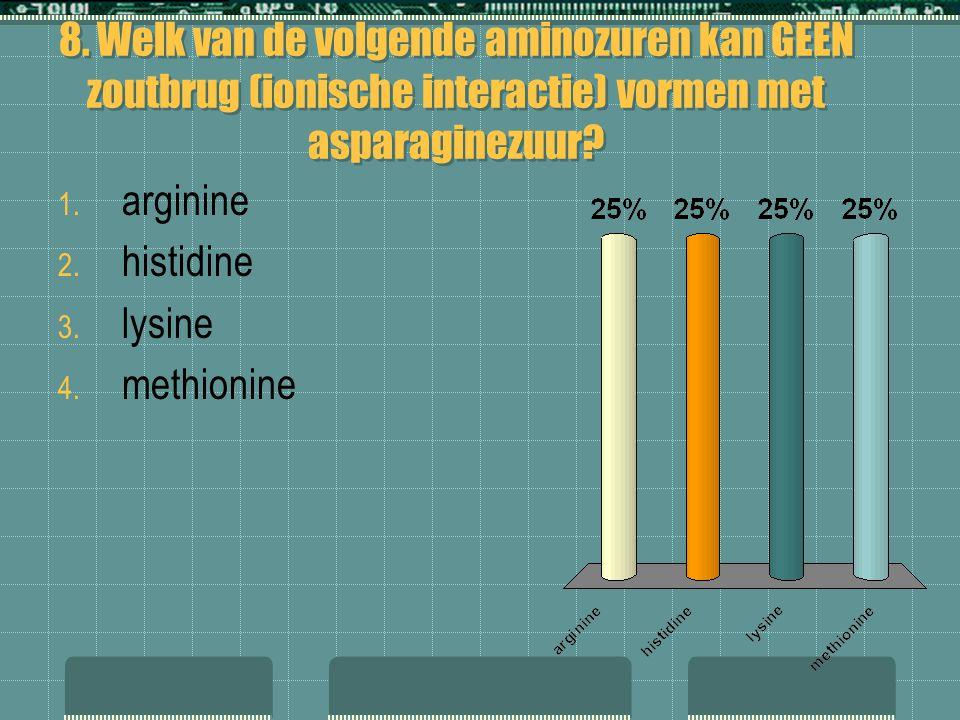 8. Welk van de volgende aminozuren kan GEEN zoutbrug (ionische interactie) vormen met asparaginezuur