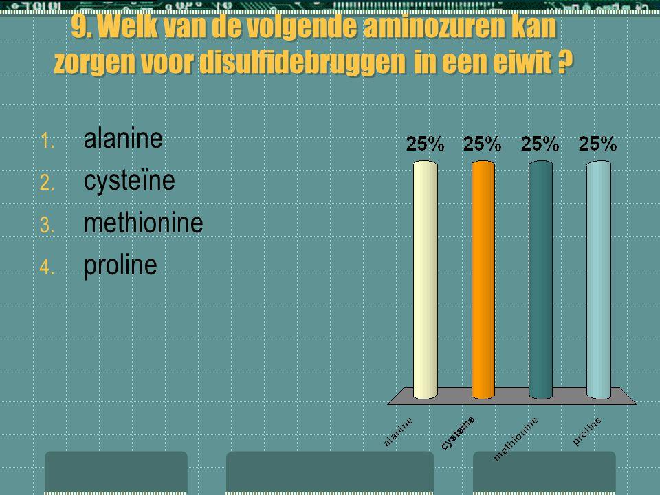 9. Welk van de volgende aminozuren kan zorgen voor disulfidebruggen in een eiwit