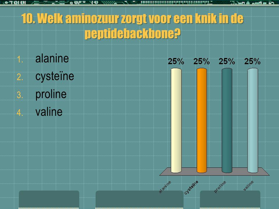 10. Welk aminozuur zorgt voor een knik in de peptidebackbone