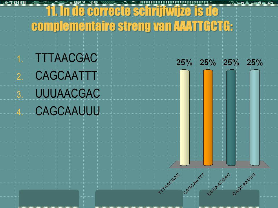11. In de correcte schrijfwijze is de complementaire streng van AAATTGCTG: