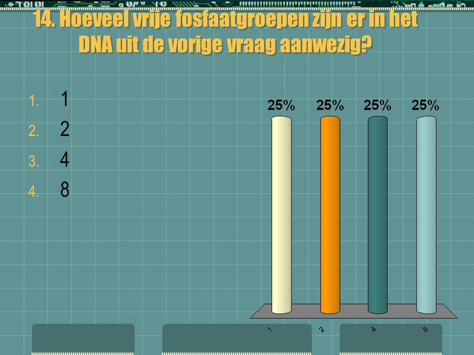 14. Hoeveel vrije fosfaatgroepen zijn er in het DNA uit de vorige vraag aanwezig