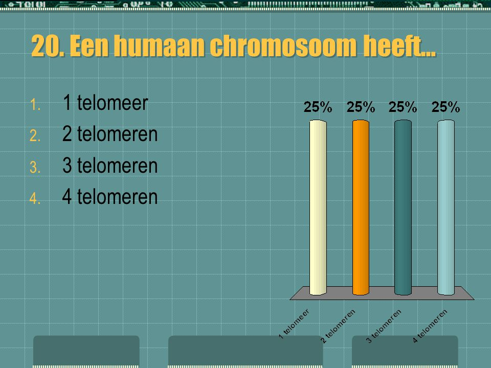 20. Een humaan chromosoom heeft…