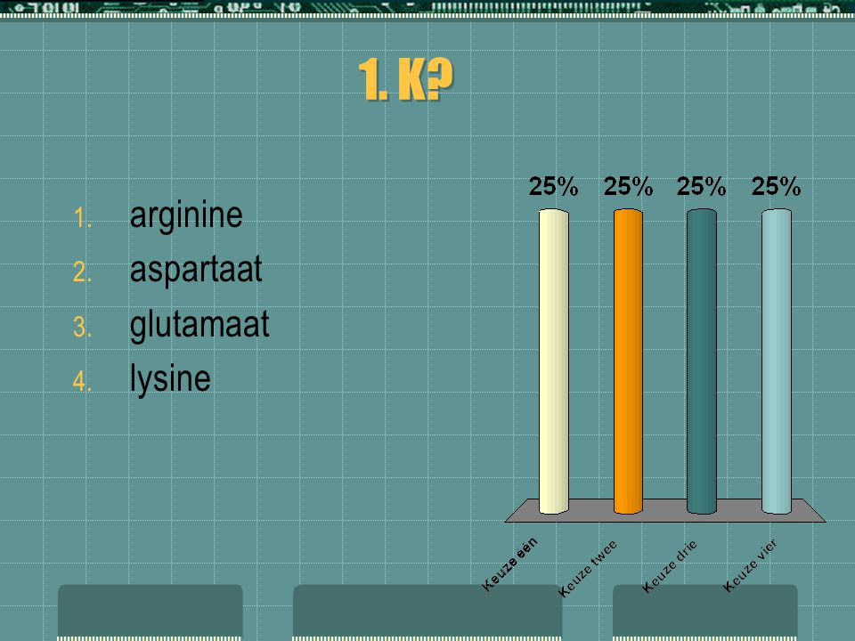 1. K arginine aspartaat glutamaat lysine