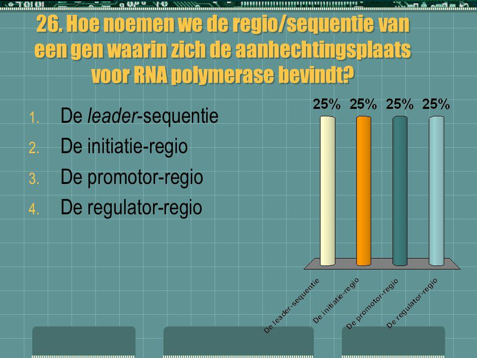 26. Hoe noemen we de regio/sequentie van een gen waarin zich de aanhechtingsplaats voor RNA polymerase bevindt