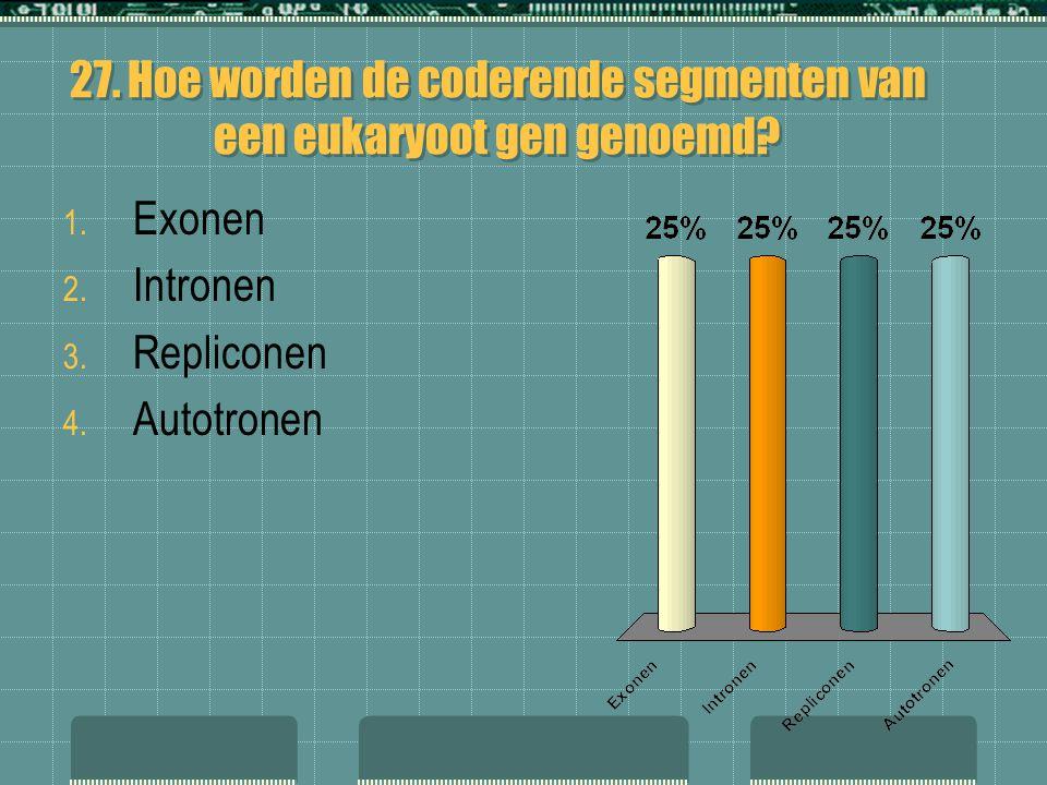 27. Hoe worden de coderende segmenten van een eukaryoot gen genoemd