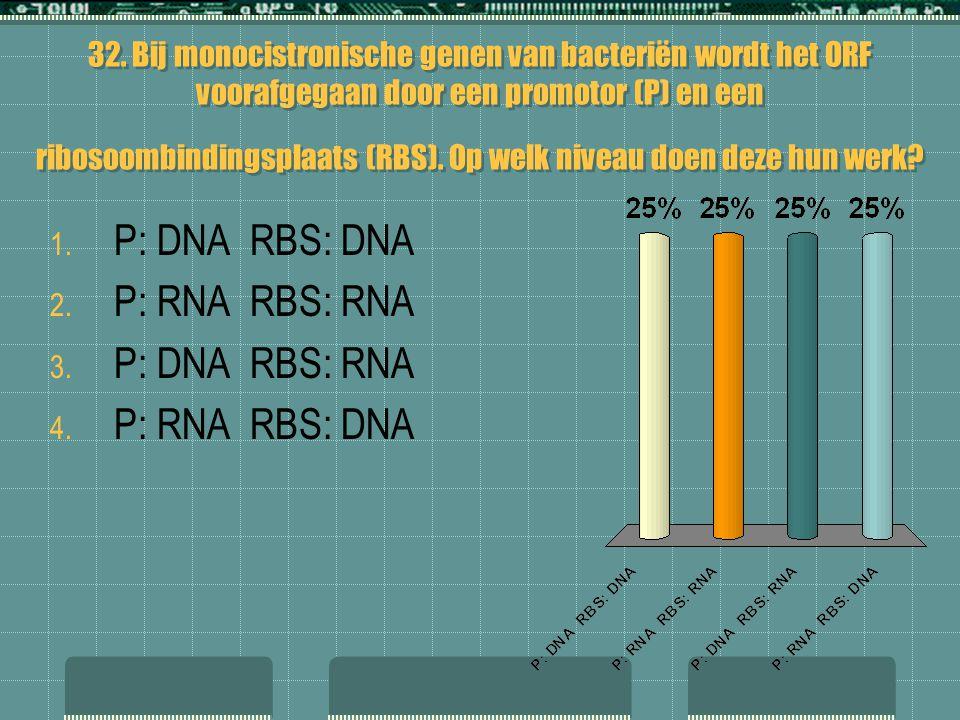 P: DNA RBS: DNA P: RNA RBS: RNA P: DNA RBS: RNA P: RNA RBS: DNA