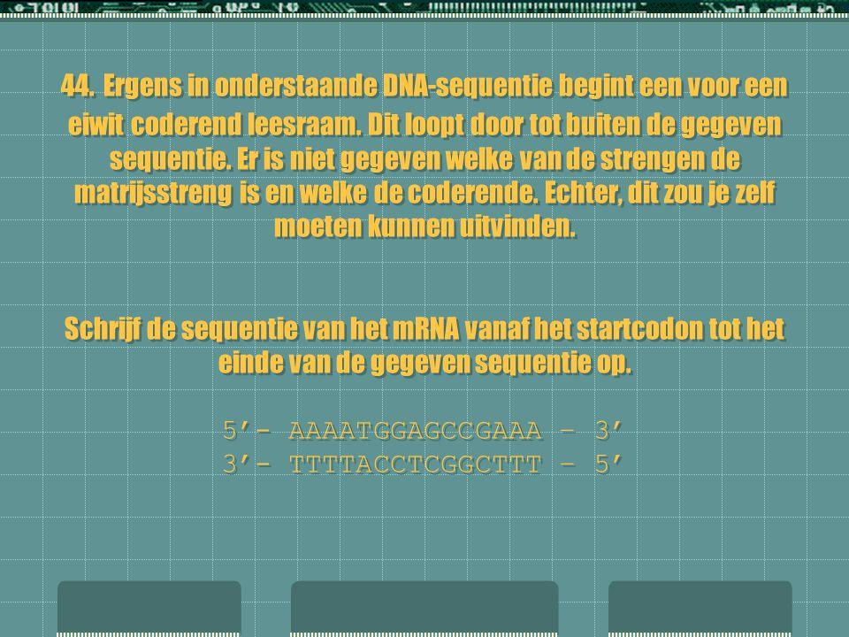 44. Ergens in onderstaande DNA-sequentie begint een voor een eiwit coderend leesraam.