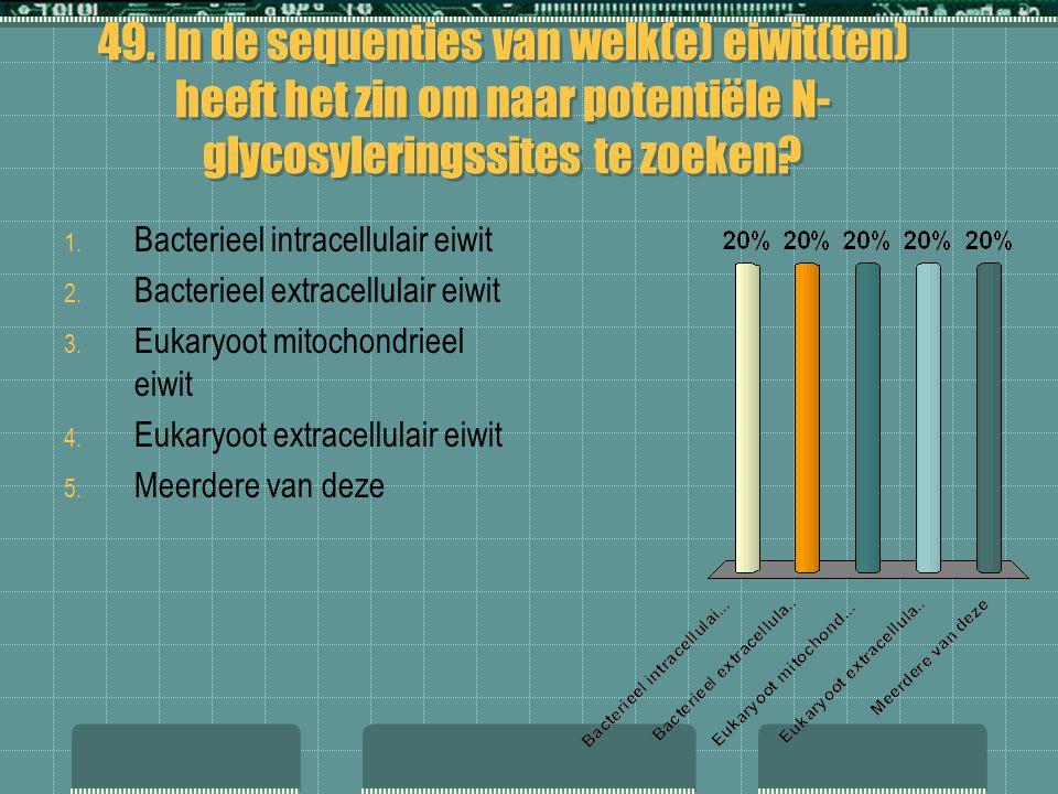 49. In de sequenties van welk(e) eiwit(ten) heeft het zin om naar potentiële N-glycosyleringssites te zoeken