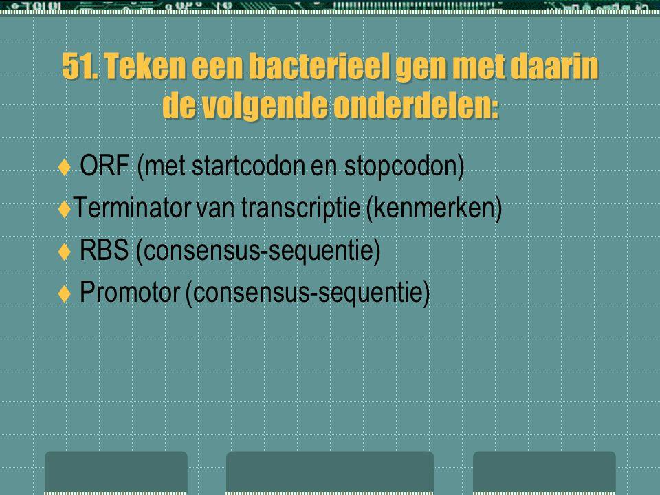 51. Teken een bacterieel gen met daarin de volgende onderdelen: