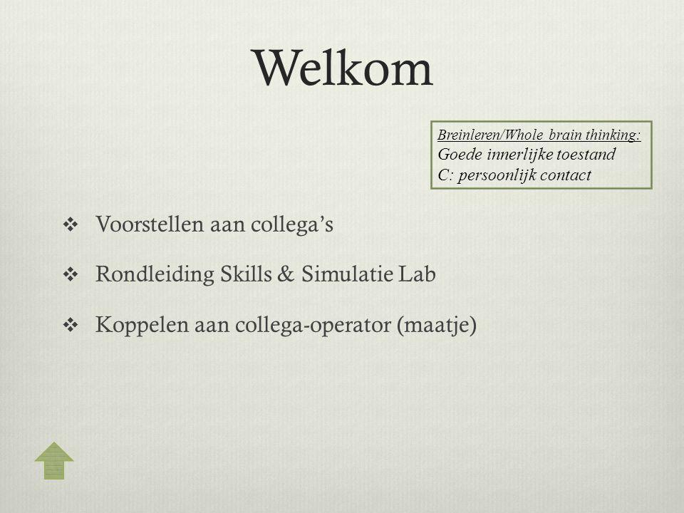 Welkom Voorstellen aan collega's Rondleiding Skills & Simulatie Lab