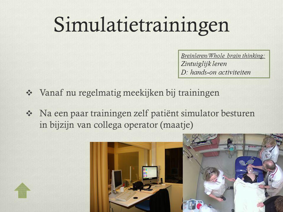 Simulatietrainingen Vanaf nu regelmatig meekijken bij trainingen
