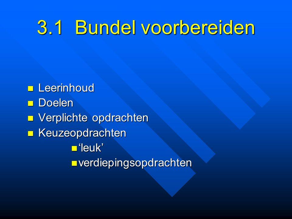 3.1 Bundel voorbereiden Leerinhoud Doelen Verplichte opdrachten
