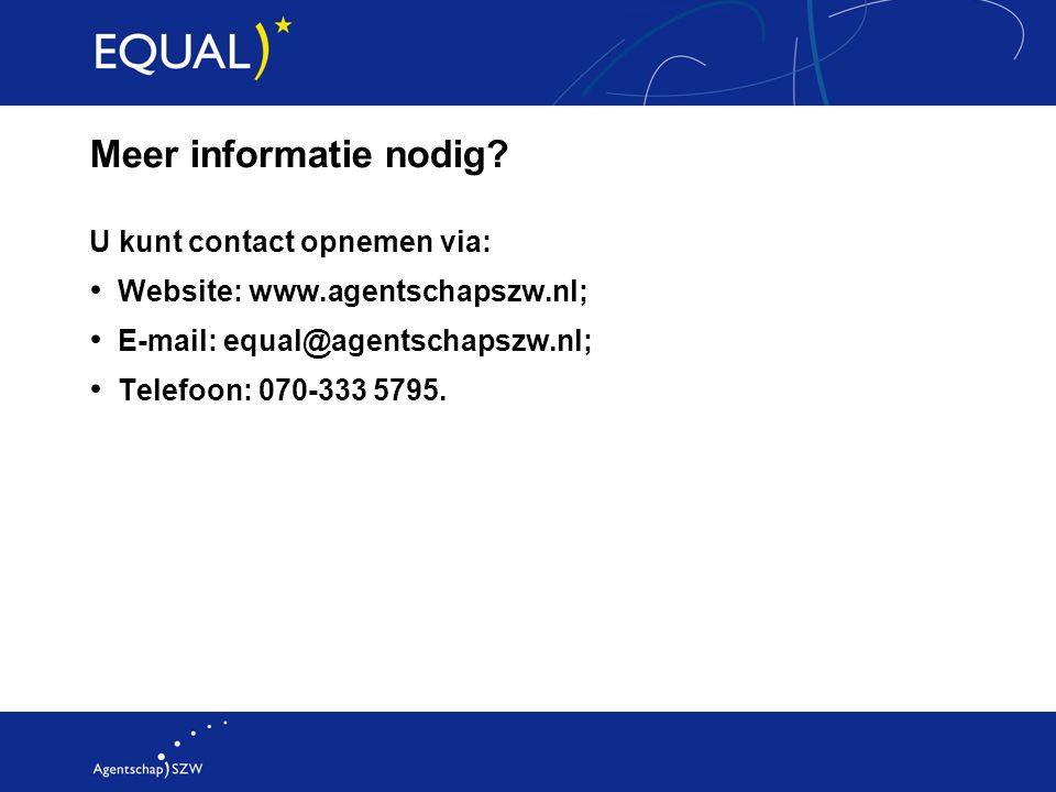 Meer informatie nodig U kunt contact opnemen via: