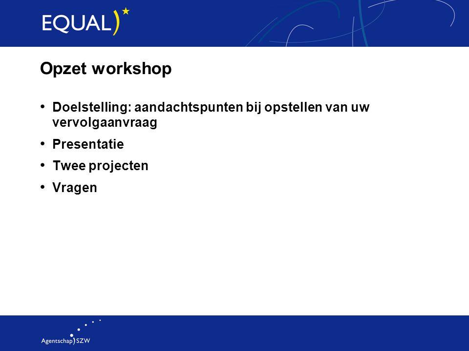 Opzet workshop Doelstelling: aandachtspunten bij opstellen van uw vervolgaanvraag. Presentatie. Twee projecten.