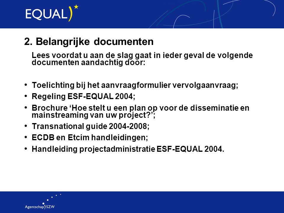 2. Belangrijke documenten