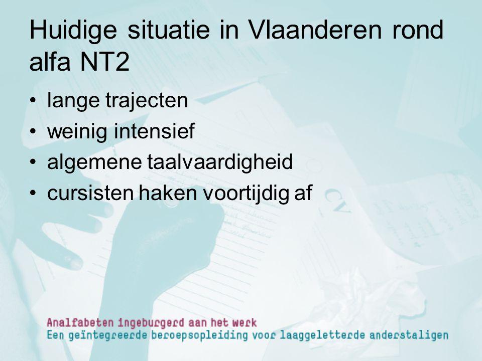 Huidige situatie in Vlaanderen rond alfa NT2