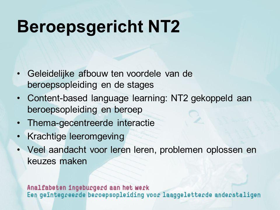 Beroepsgericht NT2 Geleidelijke afbouw ten voordele van de beroepsopleiding en de stages.