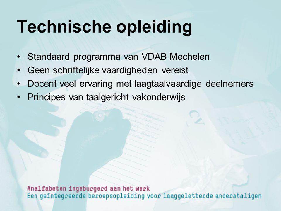 Technische opleiding Standaard programma van VDAB Mechelen
