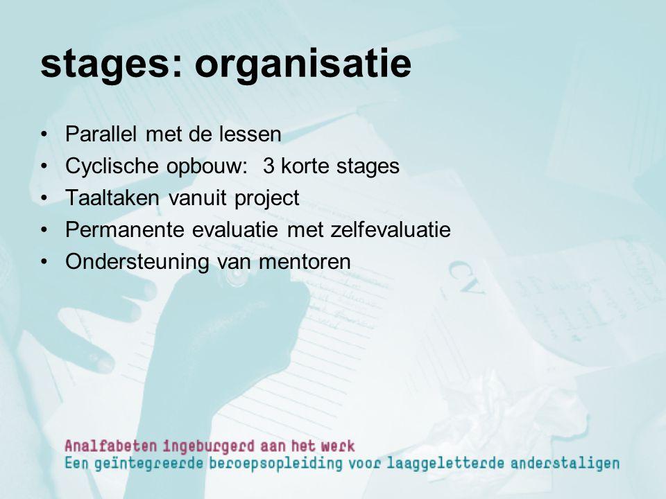 stages: organisatie Parallel met de lessen