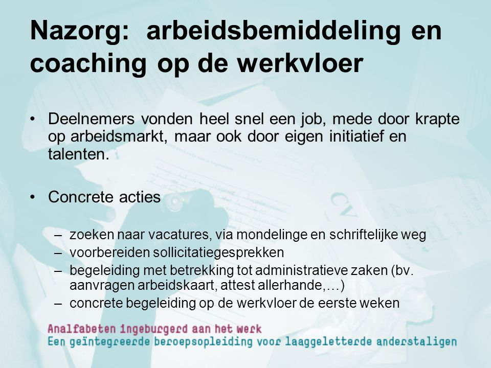Nazorg: arbeidsbemiddeling en coaching op de werkvloer