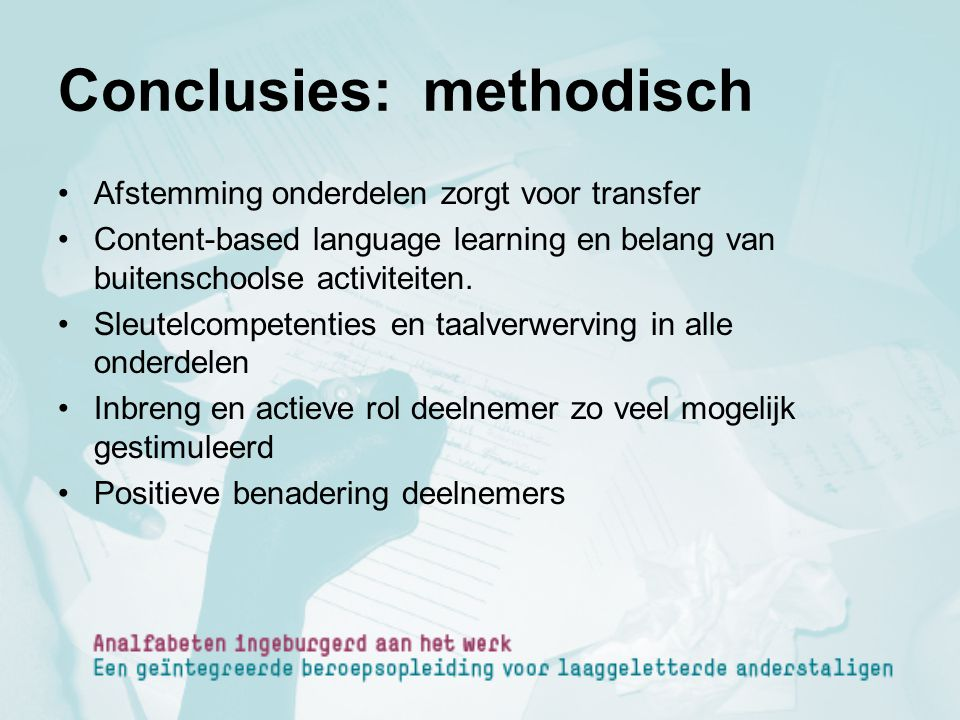 Conclusies: methodisch