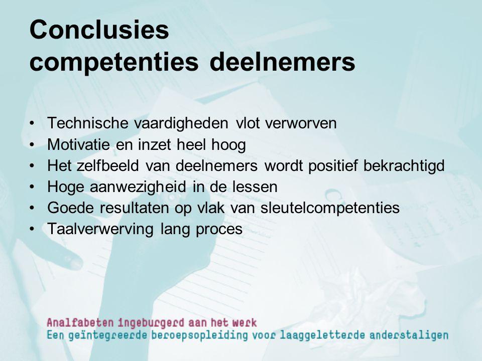 Conclusies competenties deelnemers