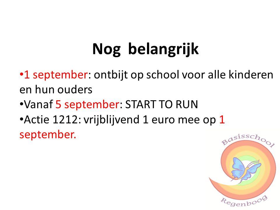 Nog belangrijk 1 september: ontbijt op school voor alle kinderen en hun ouders. Vanaf 5 september: START TO RUN.