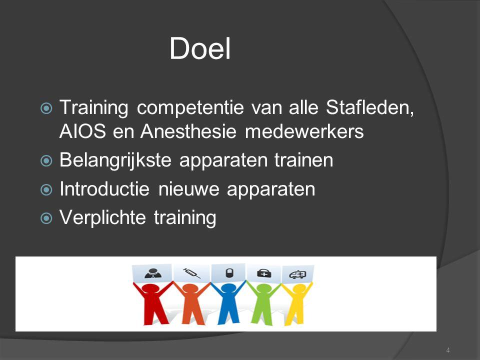 Doel Training competentie van alle Stafleden, AIOS en Anesthesie medewerkers. Belangrijkste apparaten trainen.