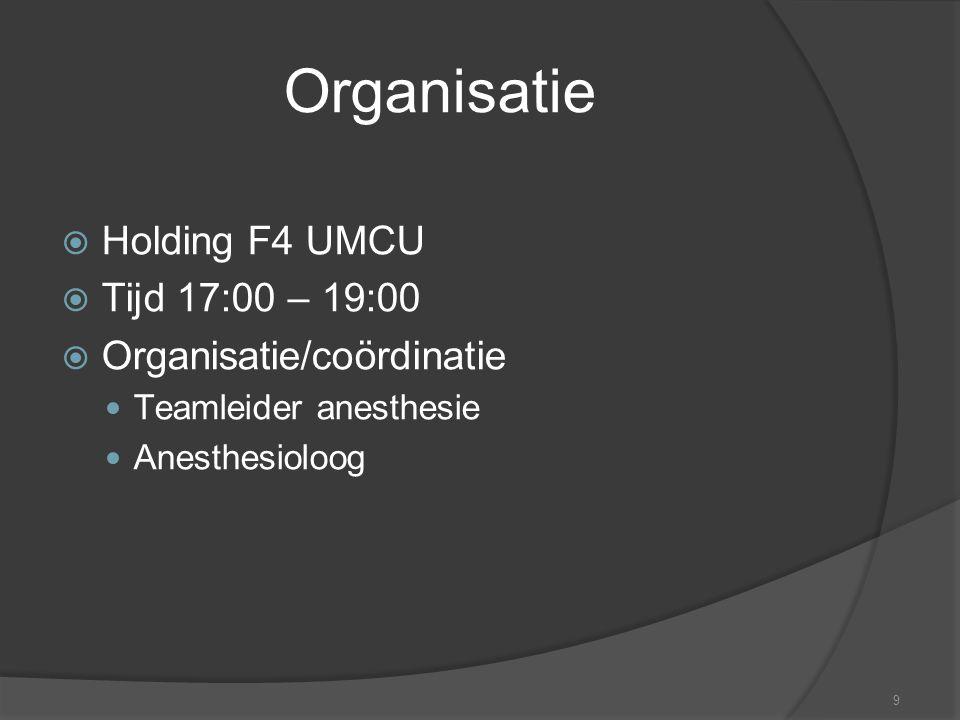 Organisatie Holding F4 UMCU Tijd 17:00 – 19:00 Organisatie/coördinatie