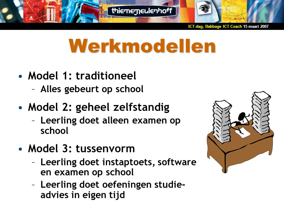 Werkmodellen Model 1: traditioneel Model 2: geheel zelfstandig