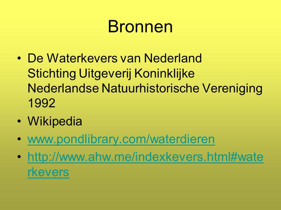 Bronnen De Waterkevers van Nederland Stichting Uitgeverij Koninklijke Nederlandse Natuurhistorische Vereniging 1992.